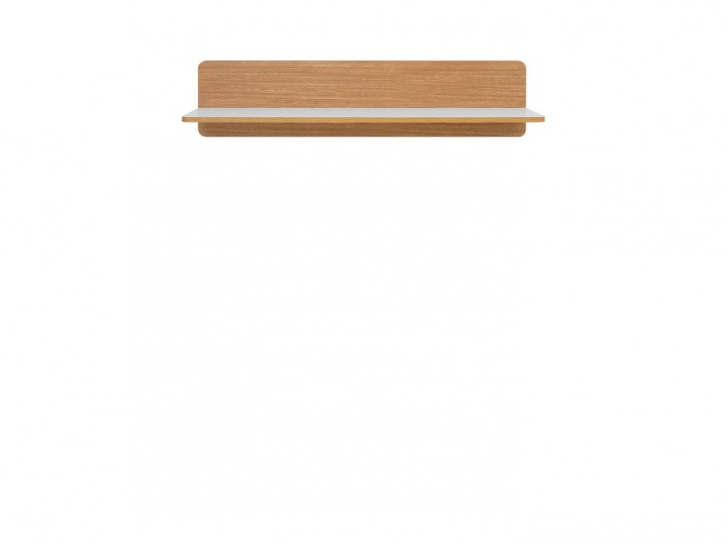 Small Wall Mounted Shelf White and Oak finish - Bari (S332-POL/103-BI/DBC-KPL01)