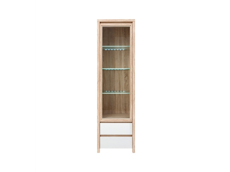 Modern Glass Display Cabinet White Gloss Sonoma Oak - Kaspian (S128-REG1W2S-DSO/BI-KPL01)