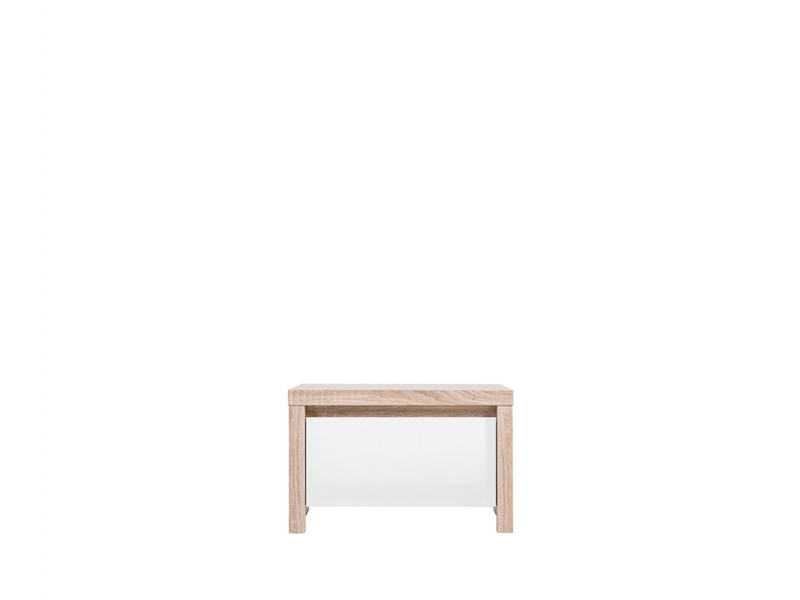 Bedside Cabinet Table Bedroom Storage Light Wood & White Gloss - Kaspian (S128-KOM1S-DSO/BI-KPL01)