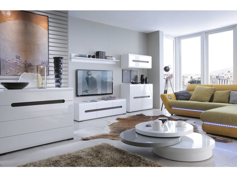 Living Room Furniture Set 2 Modern White Gloss