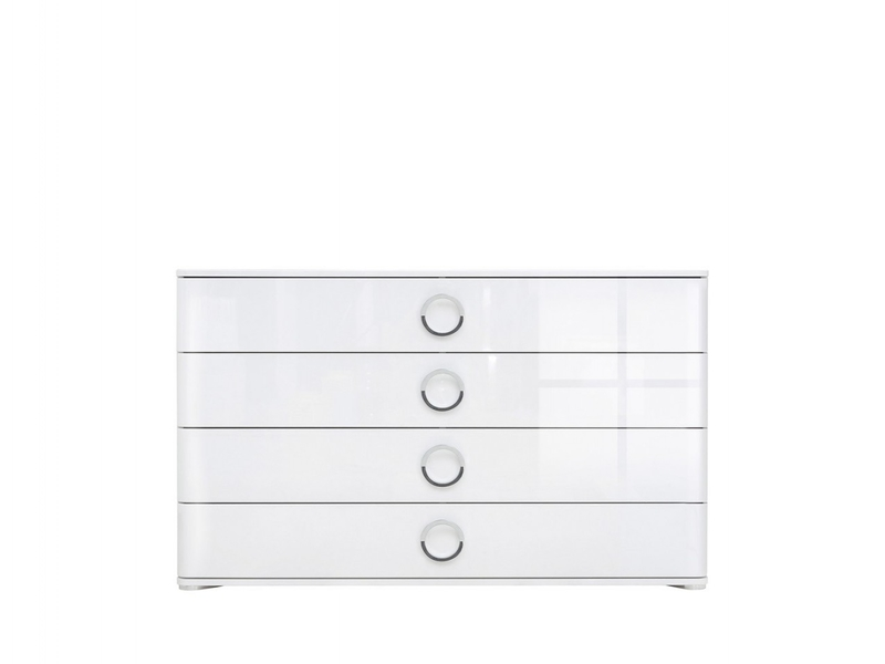 Wide Chest of Drawers White High Gloss - Roksana (KOM4S/8/14)