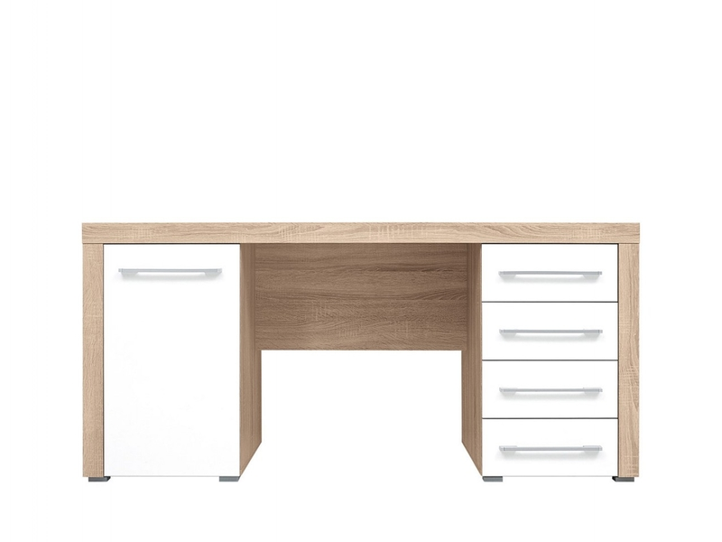 Wide Office Study Desk with Drawers in Oak & White Gloss - Bigi (BIU1D4S)