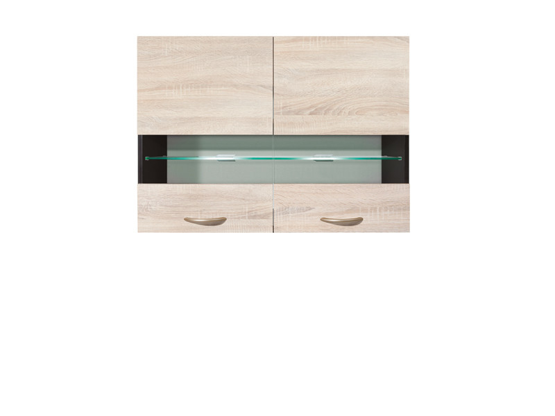 Glass Upper Cupboard 80cm with glass shelf and LED lights - Junona Line (G2W/80/57 + LED )