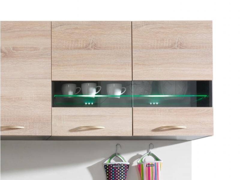 Modern Kitchen 800 Wall Glass Display Cabinet 80cm Unit Wenge/Sonoma Oak with LED Lights - Junona (K22-G2W/80/57-WE/DSO-KPL01+OPCJA-BK-KPL01)