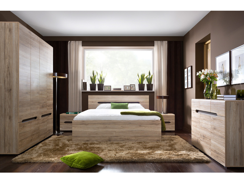 King Size Bedroom Furniture Set Oak finish - Elpasso (ELPASSO KING SET)
