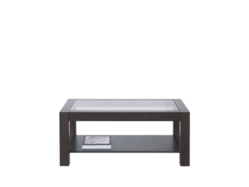 Modern Wenge Dark Wood 106cm Rectangular Coffee Occasional Side Table Sturdy with Safety Glass Top - Rumbi (D05028-RUMBI2/106/64-WE-KPL01)