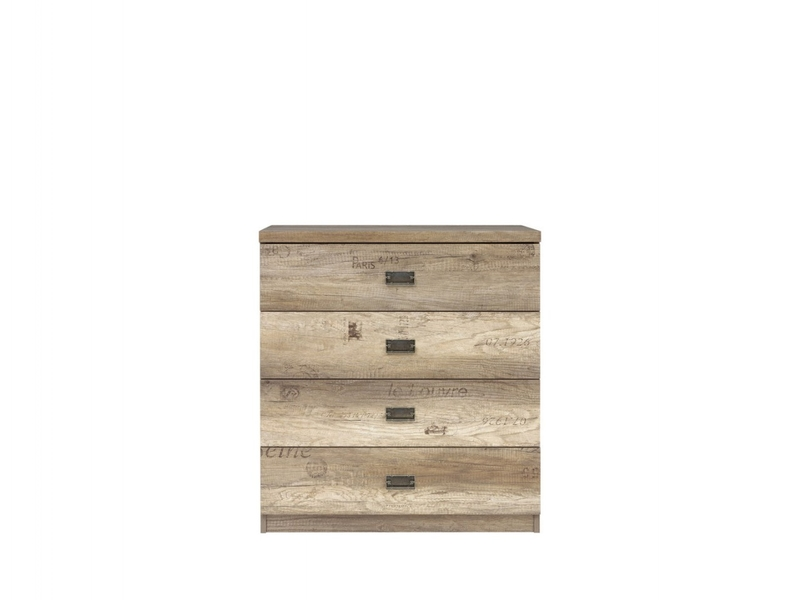 Urban Wide Bedroom Chest of Drawers Storage Unit 4-Drawer 80cm Oak - Malcolm (S325-KOM4S/80-DAMO/SZW/DAMON-KPL01)