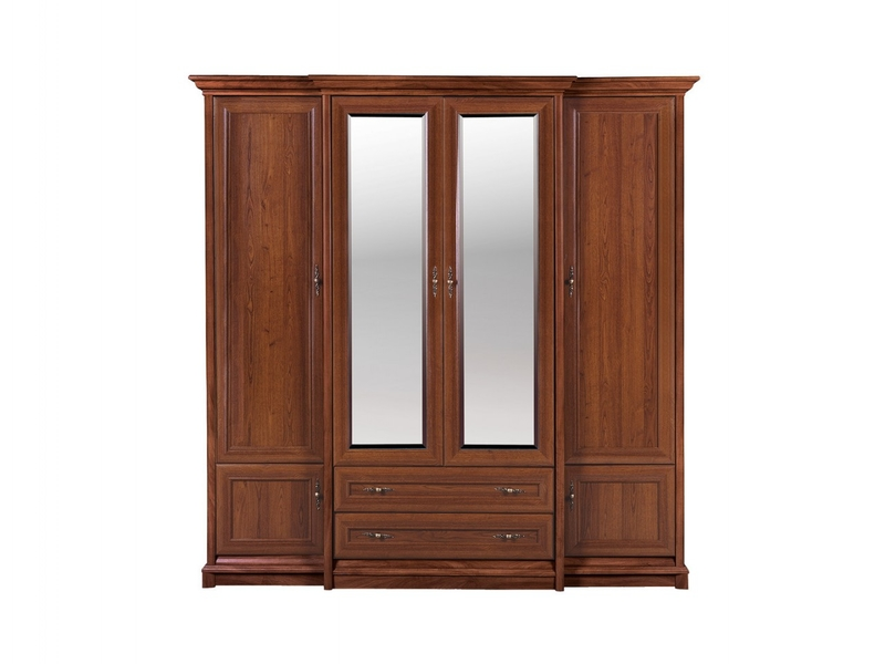 Vintage inspired Four Door Wardrobe with Mirror Chestnut finish - Kent (ESZF 4D2S)