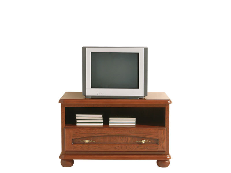 Traditional TV Stand Cabinet Unit with Solid Wood Fronts Chestnut finish - Bawaria (S11-DRTV100-KA/OW)