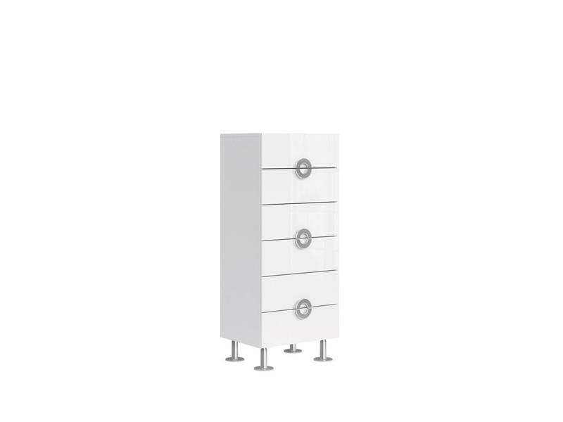 Modern Tall Narrow Bedroom Chest of Drawers Storage Unit 6-Drawer 50cm White Gloss - Ringo (S61-KOM6S/5/12-BAL/BIP-KPL01)