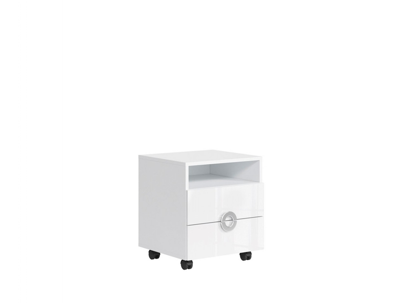 Modern Mobile Pedestal Under Desk Drawer Storage Unit 50cm White Gloss - Ringo (S61-KTN2S/5/6-BAL/BIP-KPL01)
