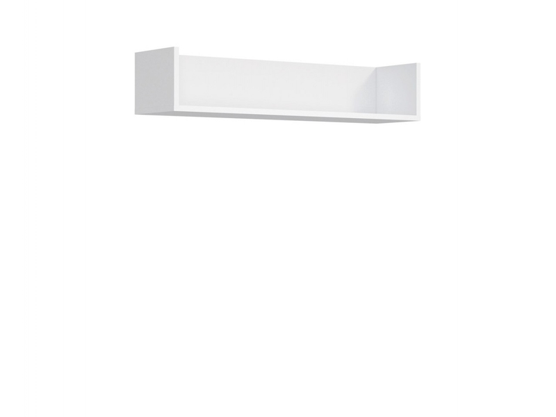 Modern Wall Hung Storage Panel Floating Shelf Unit 100cm White Matt - Ringo (S61-POL/10/2-BAL-KPL01)
