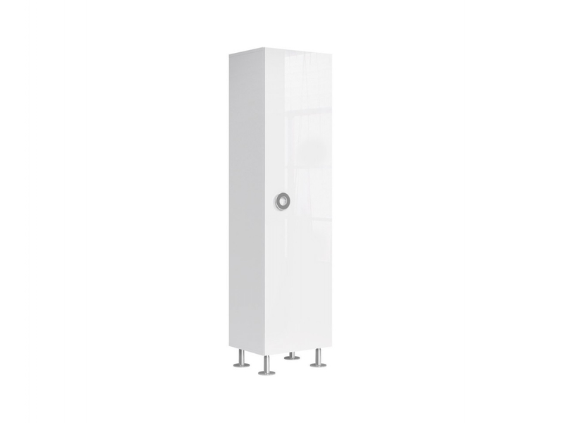 Modern Tall White Gloss Cabinet 1-Door Storage Unit Bookcase 50cm - Ringo (S61-REG1D/5/19-BAL/BIP-KPL01)