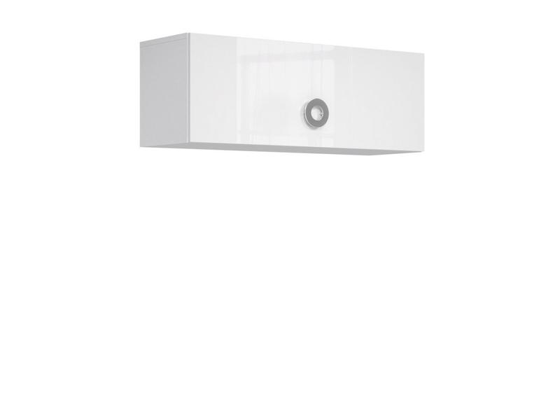 Modern Wall Cabinet Storage Unit Cupboard 100cm White Gloss - Ringo (S61-SFW1K/10/4-BAL/BIP-KPL01)