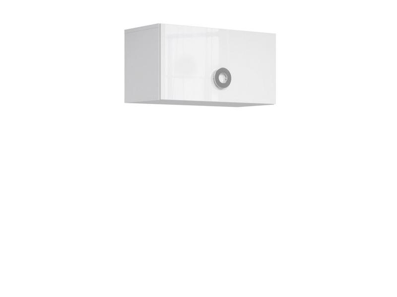 Modern Wall Cabinet Storage Unit Cupboard 70cm White Gloss - Ringo (S61-SFW1K/7/4-BAL/BIP-KPL01)