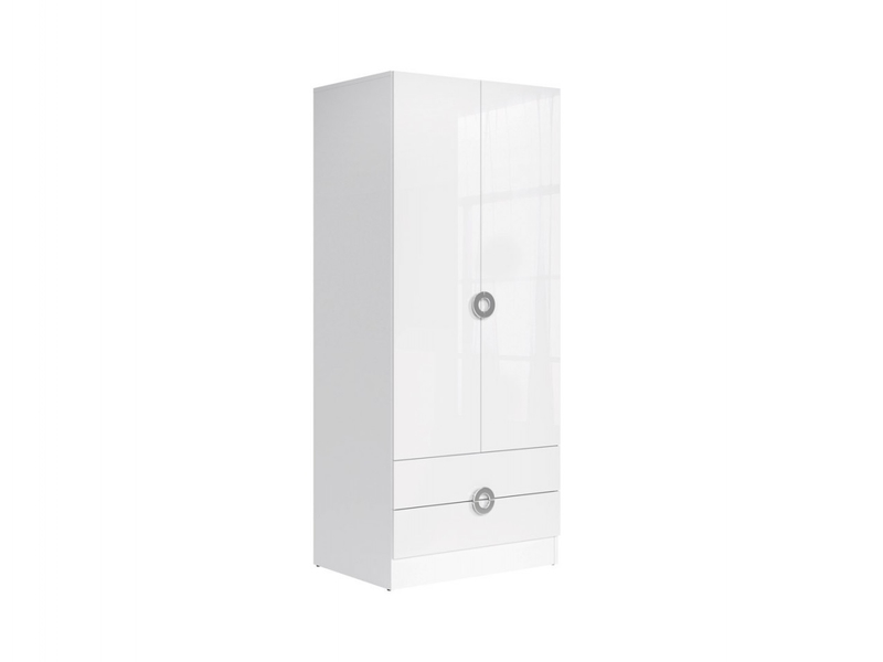 Two Door Wardrobe White High Gloss - Ringo (SZF2D2S/8/19 L/P)