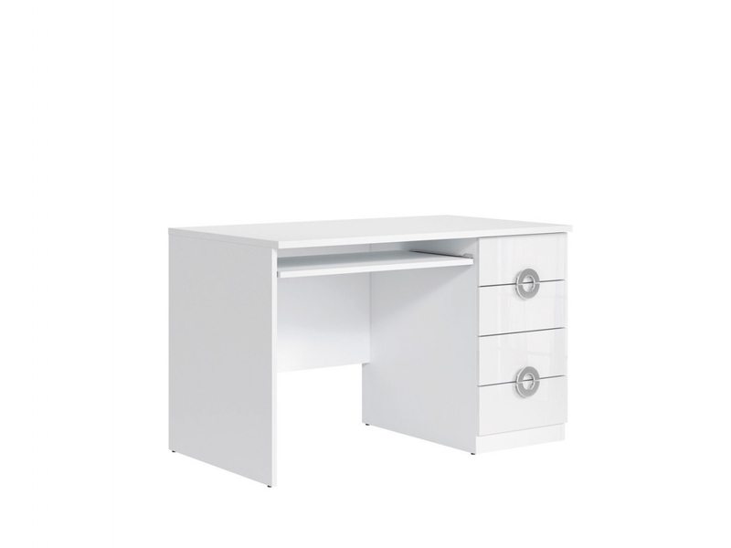 Modern White Gloss Computer Desk for Home Office Study 120cm wide with Drawers - Ringo (S61-BIU4S/120-BAL/BIP-KPL01)