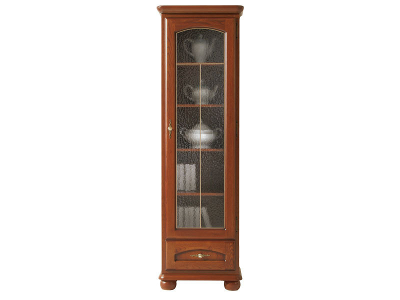 Traditional Tallboy Glass Display Cabinet 1-Door Right Polished Solid Wood Chestnut Finish - Bawaria (S11-DWIT1dP-KA/OW)