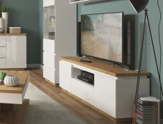 Modern White Gloss / Oak finish Living Room Furniture Set with Display Cabinets Sideboard - Erla