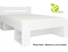 Storage Double Bed Frame in White Matt Effect Finish with Solid Wood Slats- Nepo