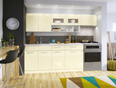 Free Standing White/Cream Gloss Kitchen Cabinets Cupboards Set 6 Units - Modern Luxe