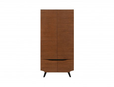 Retro Double 4 Door Wardrobe Storage Unit Bedroom Furniture Brown Oak - Madison