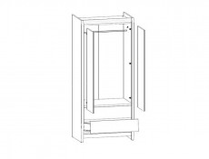 Modern Two Door Wardrobe with Drawers in Sonoma Oak Finish - Academica