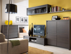 Modern Glass Display Cabinet Tall Unit Dresser in Wenge Dark Brown Effect - Kaspian (S128-REG1W2S-WE/WE-KPL01)