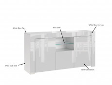 Modern White High Gloss Furniture Set: Glass Sideboard Lowboard & Bookcase Display Cabinet with Glass Shelving - Lily