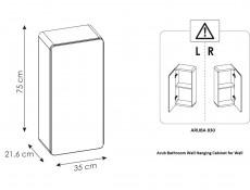 Modern White Gloss / Oak Small Wall Mounted Bathroom Cabinet Storage Unit - Aruba