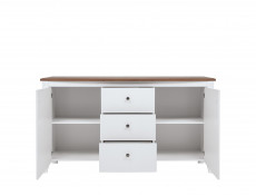Classic Wood Sideboard Cabinet Living Room Furniture Storage Unit White Gloss/Acacia - Kalio (S423-KOM2D3S-BIP / ACZ / BIP)