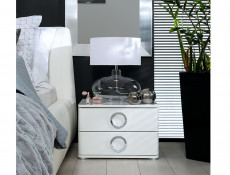 Modern Bedroom 2-Drawer Bedside Cabinet Table Storage Unit Soft Closing White/White Gloss - Roksana