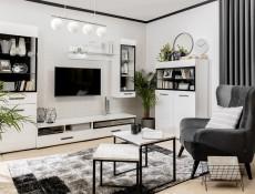 Modern White Gloss Wide Sideboard Display Glass Cabinet Dresser Drawers Unit LED Lights - Assen (S513-KOM1W2D2S/9/15-BI/BIP-KPL01+LEDS)