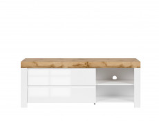 Scandinavian Media Table TV Stand Storage Cabinet Unit White Gloss/Oak 156cm - Holten