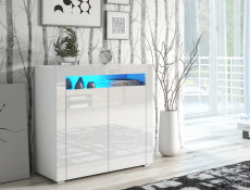Small Sideboard White High Gloss Display Cabinet Blue LED Light - Lily (KOM2D+BlueLED)