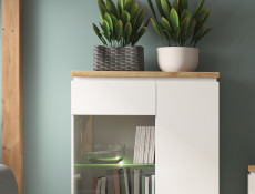 Modern White Gloss / Oak finish Tall Glass Display Cabinet Unit with LED Lights - Erla (S426-REG1W2S-BI / DMV / BIP & OPJCA)