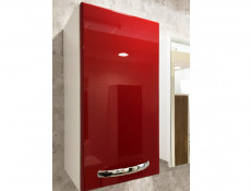 ​Modern Tall Wall Mounted Bathroom Cabinet Storage Unit with Doors in Red High Gloss - Coral