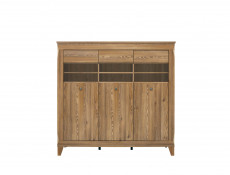 Traditional Light Oak Wide Glass Display Sideboard Cabinet Showcase Storage 3 Door Unit with LED Light - Bergen