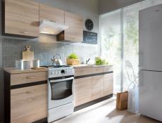 Modern Kitchen Wall Glass Display Cabinet 800 Cupboard 80cm Unit Wenge/Sonoma Oak - Junona (K22-G2W/80/57-WE/DSO-KPL01)
