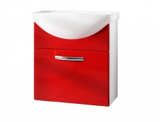 Wall Bathroom Vanity Unit Cabinet & Ceramic Sink Basin 550mm Red Gloss - Coral