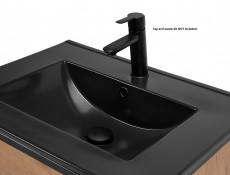 Modern Industrial Vanity Bathroom 600 Cabinet Sink Unit 60cm Free Standing Oak Black Metal Frame - Brooklin