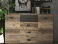Urban Large Sideboard Dresser Cabinet Unit with Drawers 130cm Oak/Grey -  Malcolm