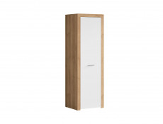 Modern 1-Door Freestanding Wardrobe Shelf Rail Storage Unit Oak/White Gloss - Balder