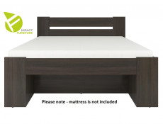 Modern Double Bed Frame with Storage Shelving and Drawers Wenge Dark Brown Finish- Nepo