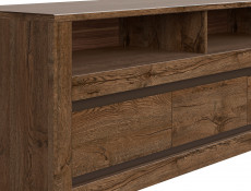 Classic Media Table TV Stand Storage Cabinet Unit Oak/Grey - Kada