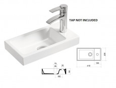 Modern White Gloss / Oak Wall Vanity Cabinet with Sink Bathroom Cloakroom Compact 40cm Unit - Aruba
