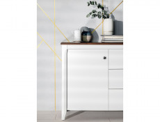 Classic Wood Sideboard Cabinet Living Room Furniture Storage Unit White Gloss/Acacia - Kalio