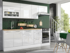 Modern White High Gloss Kitchen Cabinets Cupboards Set of 7 Units Complete Modular 240cm - Rosi