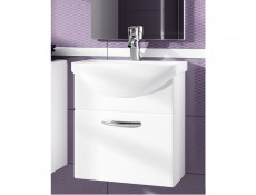 Wall Bathroom Vanity Unit Cabinet & Ceramic Sink Basin 550mm White Gloss - Coral