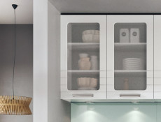 White/Light Grey Kitchen Wall Cabinet with Glass Doors 80cm Cupboard Unit - Paula